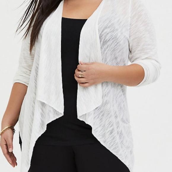 Plus 1X 2X New Emerald Cascading Long Cardigan Duster Sweater w// Pockets Black